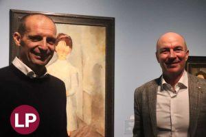 Massimiliano Allegri e il sindaco Luca Salvetti alla mostra di Modigliani