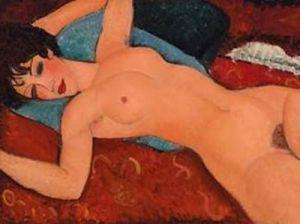 modigliani donna nuda su cuscino blu