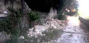 Crollo tratto di muro del Castello Pasquini
