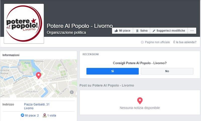 oscurata pagina facebook di potere al popolo livorno