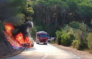 Isola d'Elba, si incendia auto, a fuoco il bosco limitrofo