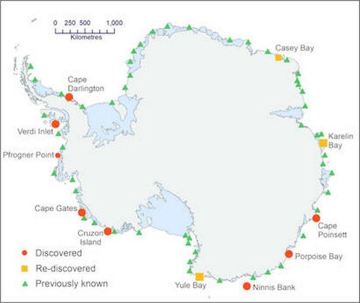 Mappa delle colonie di pinguini imperatore in Antartide fonte: British Antarctic Survey