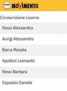 candidati di lista m5s circoscrizione Livorno