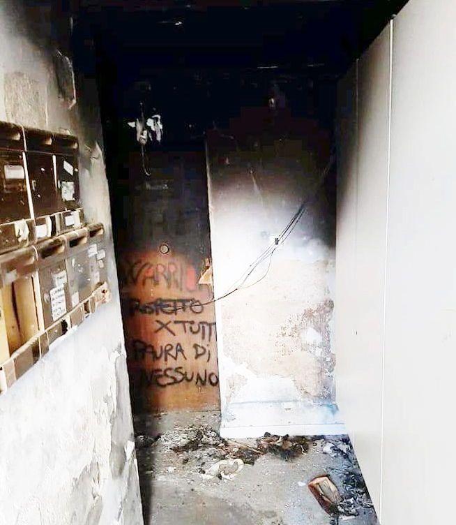Incendio nel sottoscala via giordano bruno