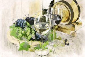 vino calice botte uva