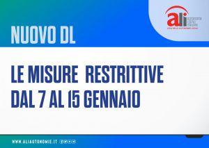 Covid: nuovo decreto legge in schede, le misure restrittive dal 7 al 15 gennaio
