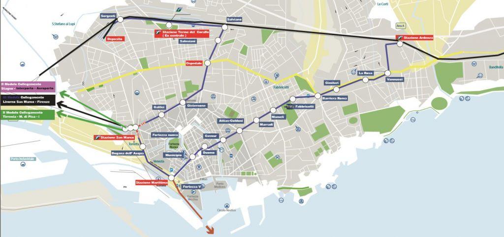 Le 4 stazioni di Livorno collegate dal tram. Le cerniere di mobilità