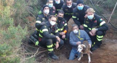 Cane intrappolato in una buca salvato dai vigili del fuoco (8)