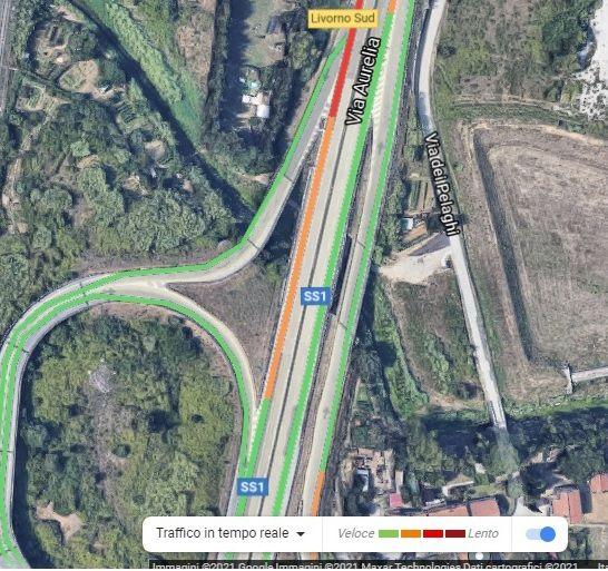 variante traffico all'uscita livorno sud