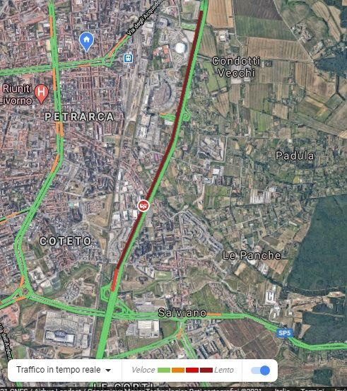 variante traffico linea rossa da Livorno centro a Livorno Sud