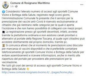 """""""Mancano i vaccini, prenotazioni bloccate"""" il Comune di Rosignano avvisa i cittadini"""