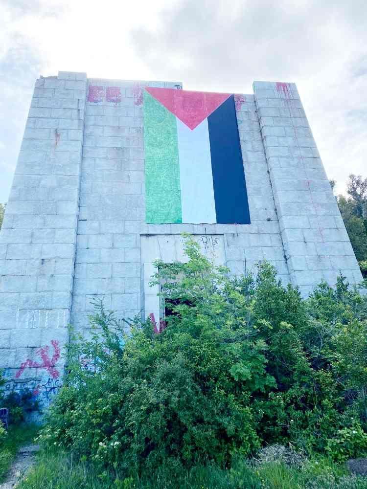 monumento a ciano bandiera della palestina