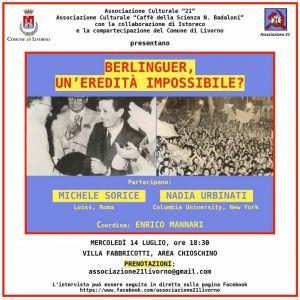 """Dibattito """"Berlinguer, un'eredità possibile?"""" a villa Fabbricotti. L'evento sarà trasmesso anche online"""