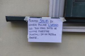 cartello protesta urina strada finestra