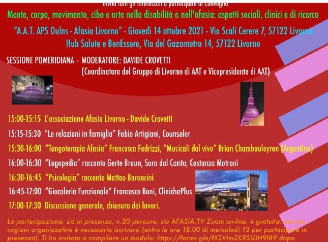 Settimana dell'Afasia: Tutti gli eventi, il Cisternino di Città si tinge di Rosso